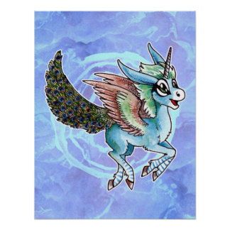 Peacock Unicorn Poster