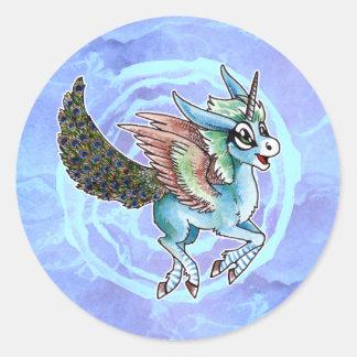 Peacock Unicorn Round Sticker