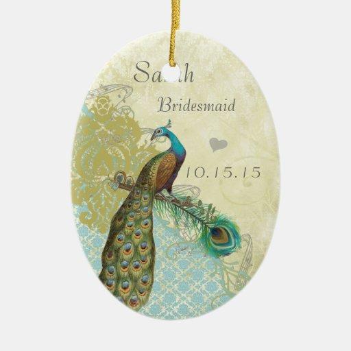 Peacock Vintage Bird Bridesmaid Ornaments