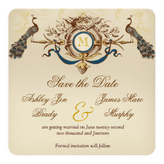 Peacock Vintage Save the Date Cards 13 Cm X 13 Cm Square Invitation Card