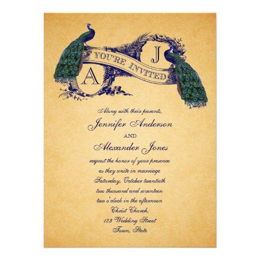 Peacock Vintage Wedding Invitation | Blue