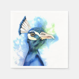Peacock Watercolor Painting Disposable Napkin