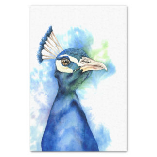 Peacock Watercolor Painting Tissue Paper