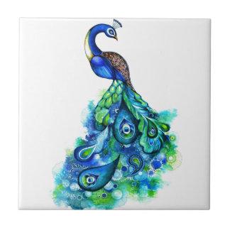 Peacock Watercolor Small Square Tile