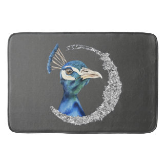 Peacock Watercolor with Faux Silver Glitter Bath Mat