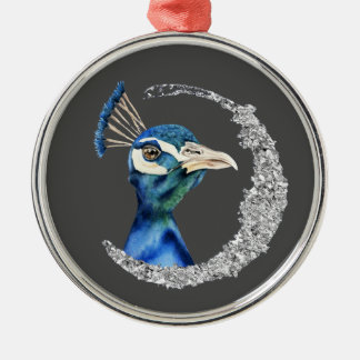 Peacock Watercolor with Faux Silver Glitter Christmas Ornament