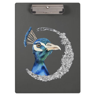 Peacock Watercolor with Faux Silver Glitter Clipboard