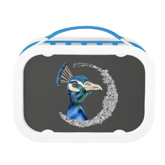 Peacock Watercolor with Faux Silver Glitter Lunch Box