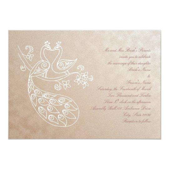 Peacock Wedding invitation, Alpana style Card