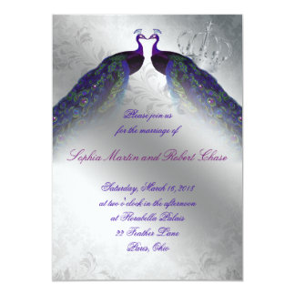 Peacock Wedding Invite Indigo Vintage Silver