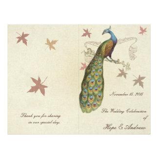 Peacock Wedding Program Personalized Flyer