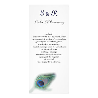 peacock Wedding program Rack Card