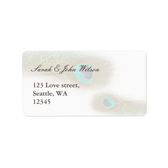 peacock wedding ,return address label