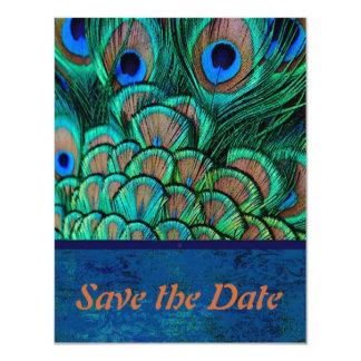 Peacock Wedding Save the Date card 11 Cm X 14 Cm Invitation Card