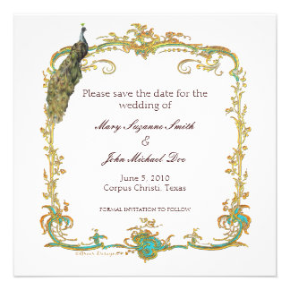 Peacock Wedding Save the Date Invitation