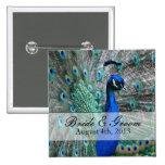 Peacock Wedding Theme 1 15 Cm Square Badge