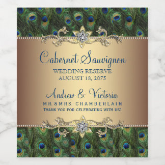 Peacock Wedding Wine Bottle Labels