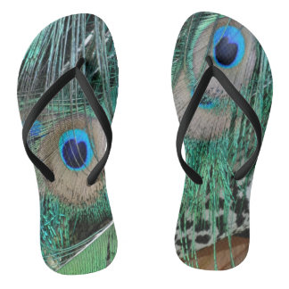 Peacock Wings And Tail Feathers Flip Flops