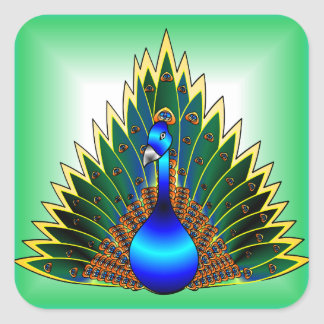 Peacock With Blue-Green Background Square Sticker