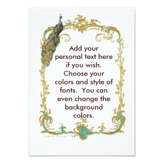 Peacock with Gold Frame Ornate Stationery 13 Cm X 18 Cm Invitation Card