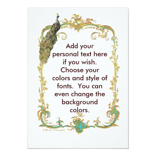 Peacock with Gold Frame Ornate Stationery Card