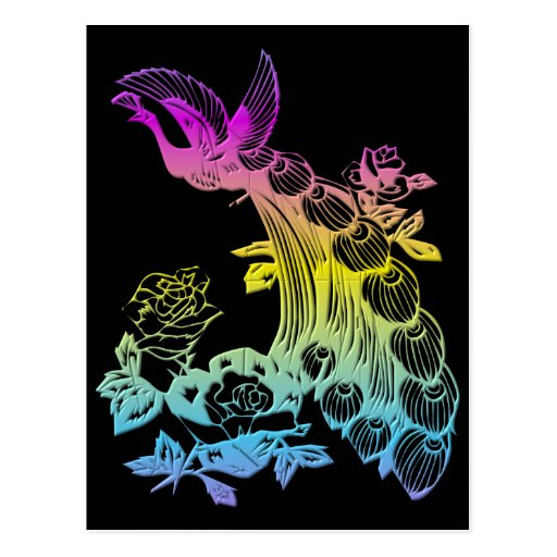 Peacock with roses post cards