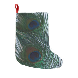 Peacock with White Small Christmas Stocking