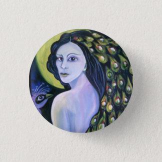 Peacock woman. 3 cm round badge