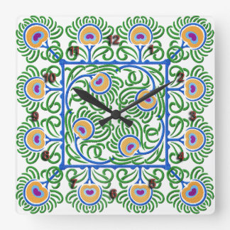 Peacocks Feathers Embroidery-Style Clock