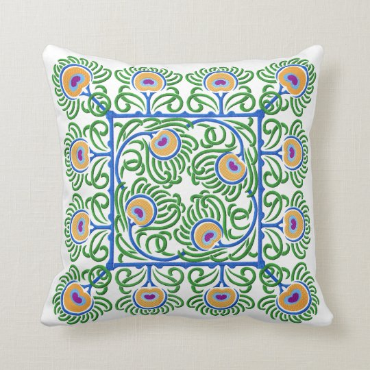 Peacocks Feathers Embroidery-Style Pillow