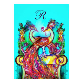 PEACOCKS IN LOVE MONOGRAM red blue turquase green Personalized Invitations