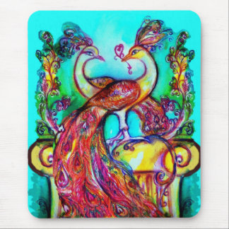 PEACOCKS IN LOVE  MONOGRAM red blue turquase green Mouse Mat