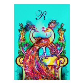 "PEACOCKS IN LOVE MONOGRAM red teal blue green gold 5.5"" X 7.5"" Invitation Card"