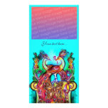PEACOCKS IN LOVE ,red blue turquase green Customized Photo Card