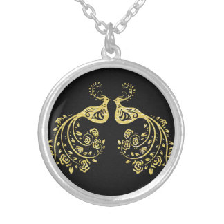 Peacocks in Love Silver Plated Necklace
