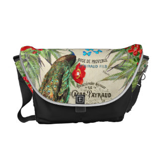 Peacocks Morpho Butterfly Flowers Messenger Bag