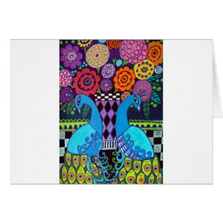 Peacocks with Flowers Art by heather Galler Greeting Card