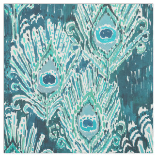 Peacocky Feather Teal Watercolor Fabric