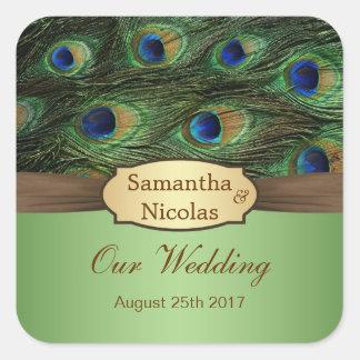 Peacok feathers Wedding Sticker
