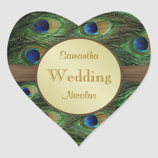 Peacok s feathers heart shaped Wedding Sticker