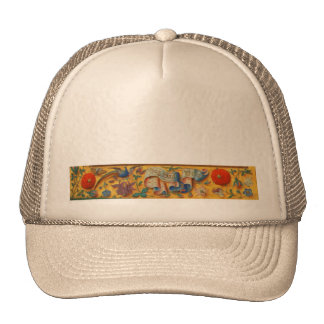 Peafowl and Floral Motif Hats
