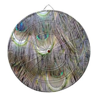 Peafowl Feathers Big  Eyes Dashing Colors Dartboard