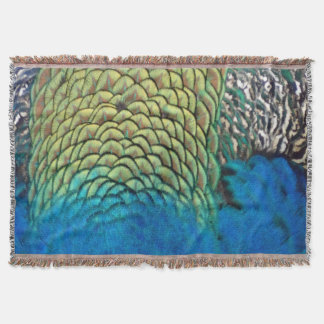 Peafowl Feathers Deep Blue And Gold Colors Throw Blanket