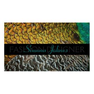 Peafowl Feathers Fashion Designer Business Card