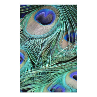 Peafowl Feathers Green And Blue Eyes Personalized Stationery