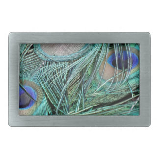 Peafowl Feathers Green And Blue Eyes Rectangular Belt Buckles