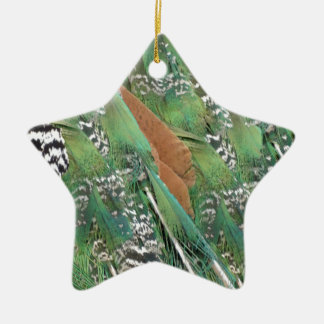 Peafowl Feathers Mixed Colors Christmas Ornament