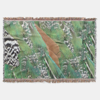 Peafowl Feathers Mixed Colors Throw Blanket