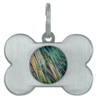 Peafowl Feathers No Eyes Colorful Pet Tag