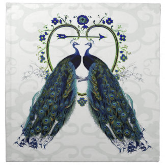 PEAFOWL peacock love heart personalized Printed Napkins